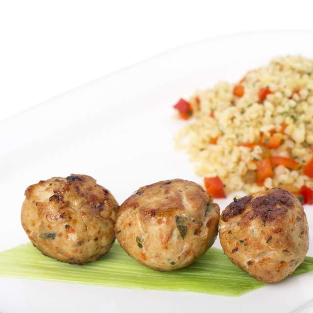 """Turkey meatballs with delicious bulgur."" stock image"