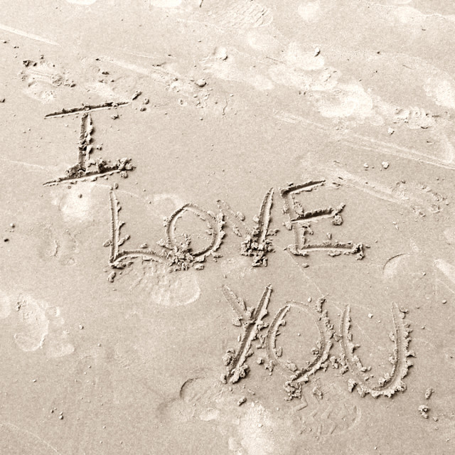 """""""I Love You in Sand"""" stock image"""
