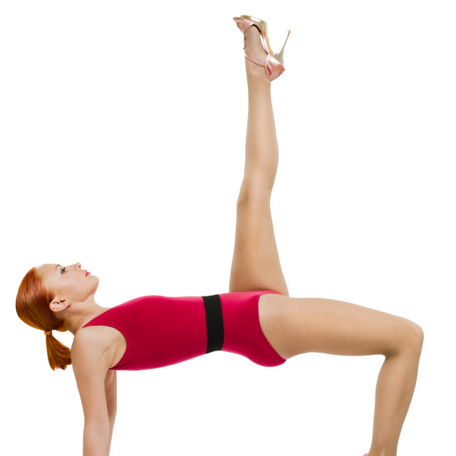 """Beautiful fitness woman performing handstand"" stock image"