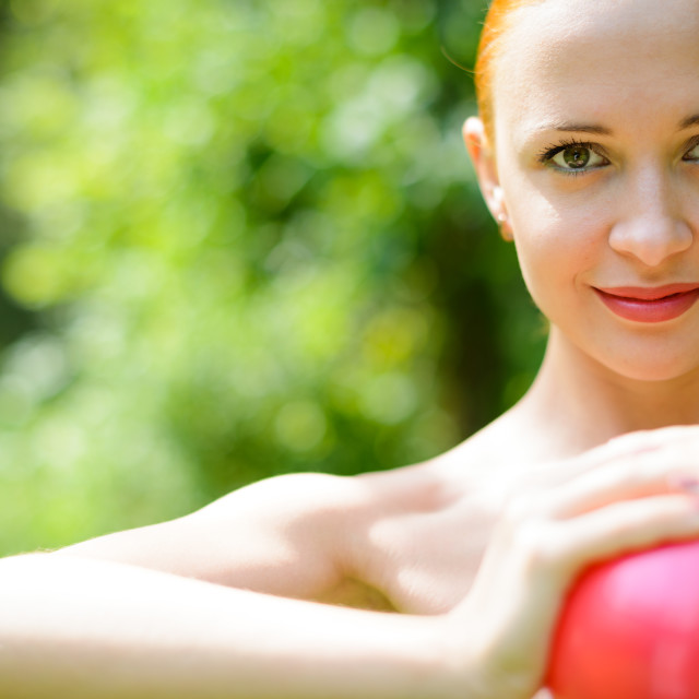 """Beautiful woman with fitness ball"" stock image"