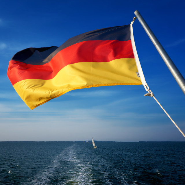 """national flag of Germany on motor boat"" stock image"