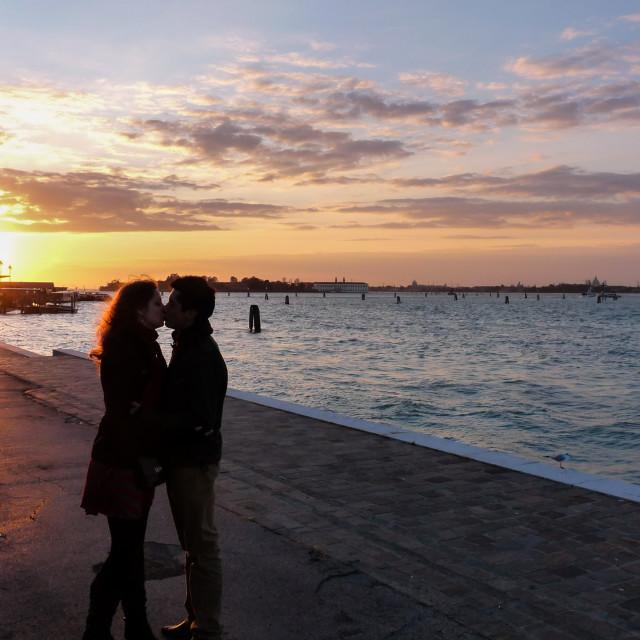 """Sunset kiss"" stock image"