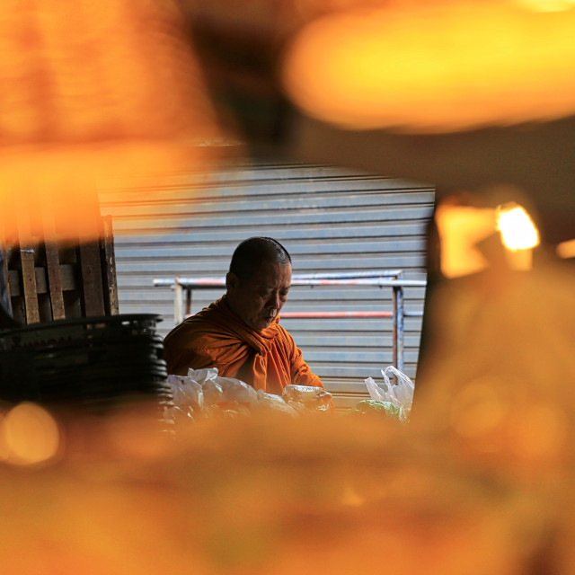 """A thai monk sorting out alms"" stock image"