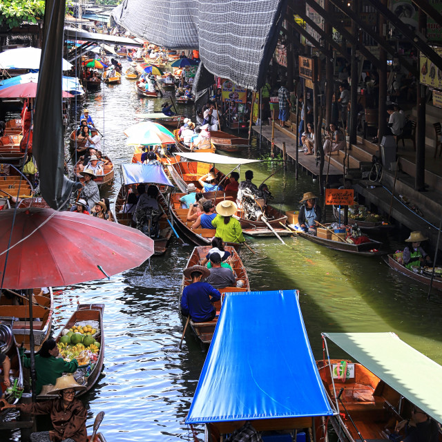 """Scene at a floating market in Thailand"" stock image"