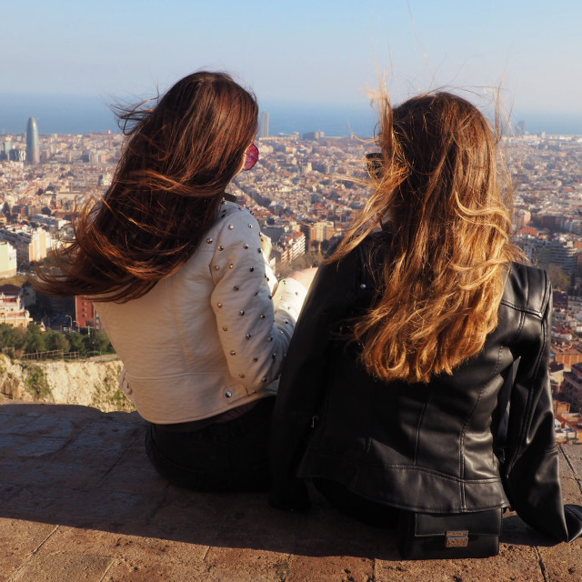 """Friends in Barcelona"" stock image"