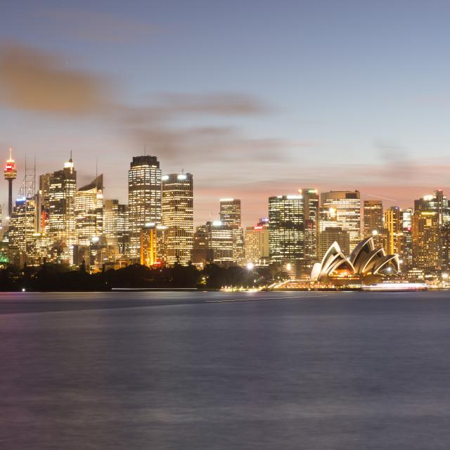 """Sydney cbd dusk"" stock image"