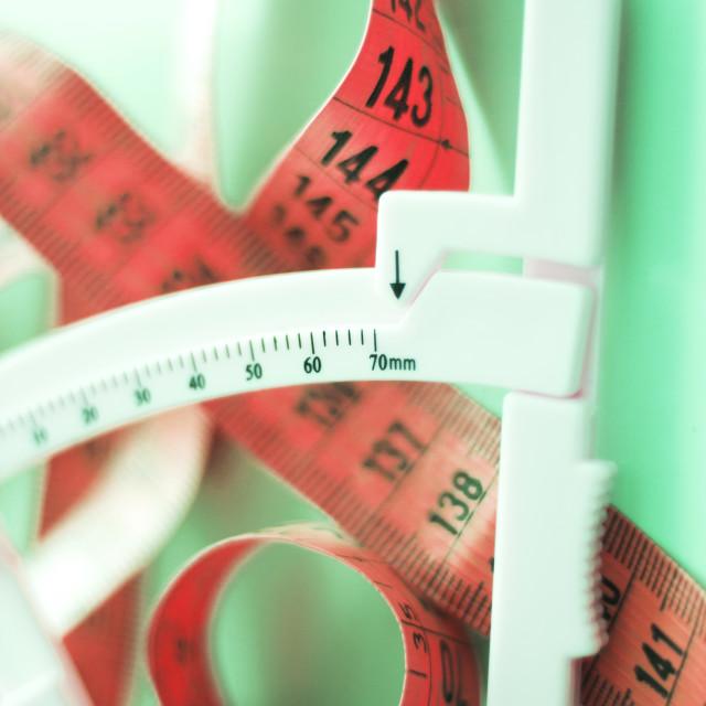 """Fat caliper measuring tape"" stock image"