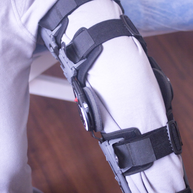 """Injury leg brace support"" stock image"