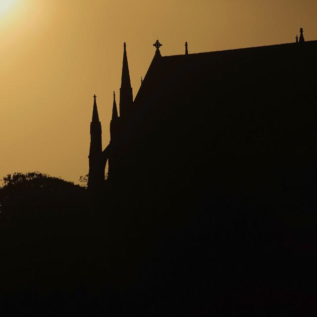 """Summer sunset over Lancing College Chapel, Lancing College, Lancing village,..."" stock image"