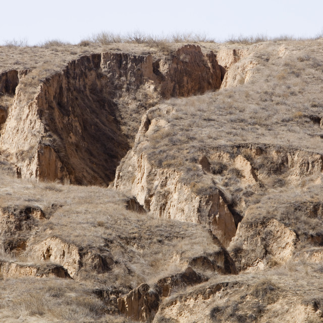 """Eroded Loess deposits in Shanxi province, northern China"" stock image"