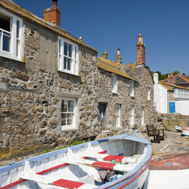 """""""An old fishing boat in Mousehole in Cornwall, UK"""" stock image"""
