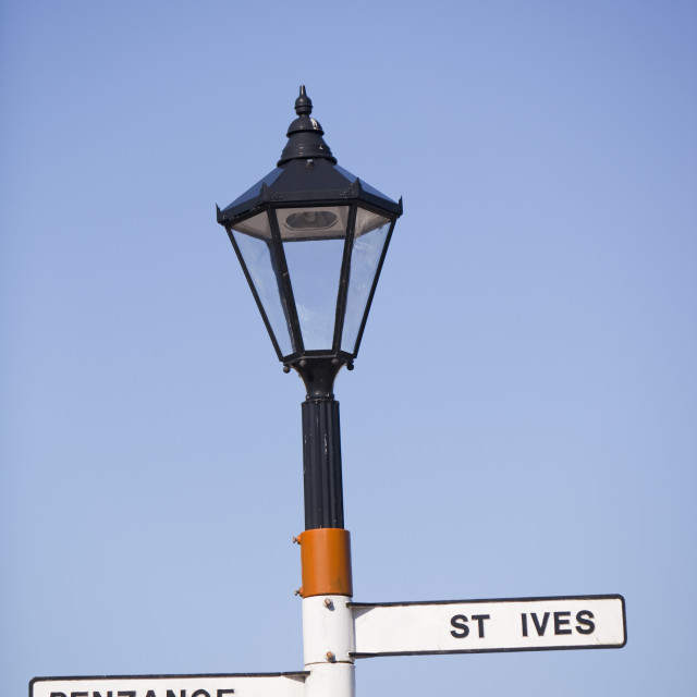"""""""A signpost in St Just, Cornwall, UK"""" stock image"""