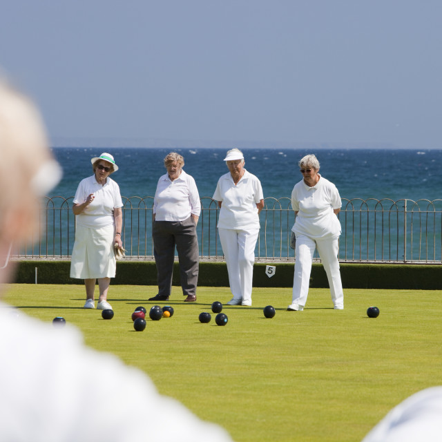 """""""Old people playing bowls at Penzance in West Cornwall, UK."""" stock image"""