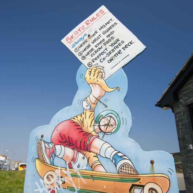 """Rules for skateboarding in a skateboarding park in Penzance, Cornwall, UK"" stock image"