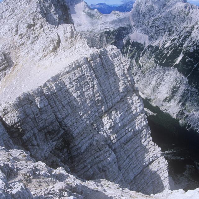 """A limestone peak in the Triglav national park in Slovenia"" stock image"