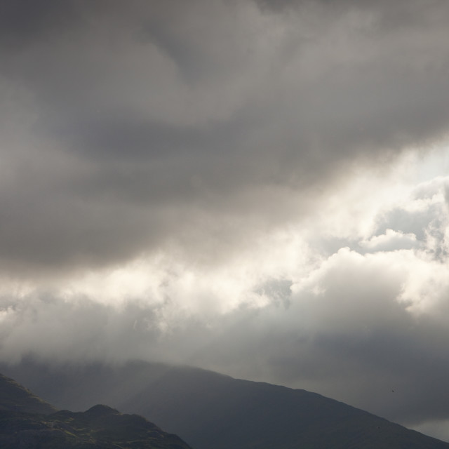 """""""A hole in the cloud over Wrynose Pass, Lake District, UK."""" stock image"""