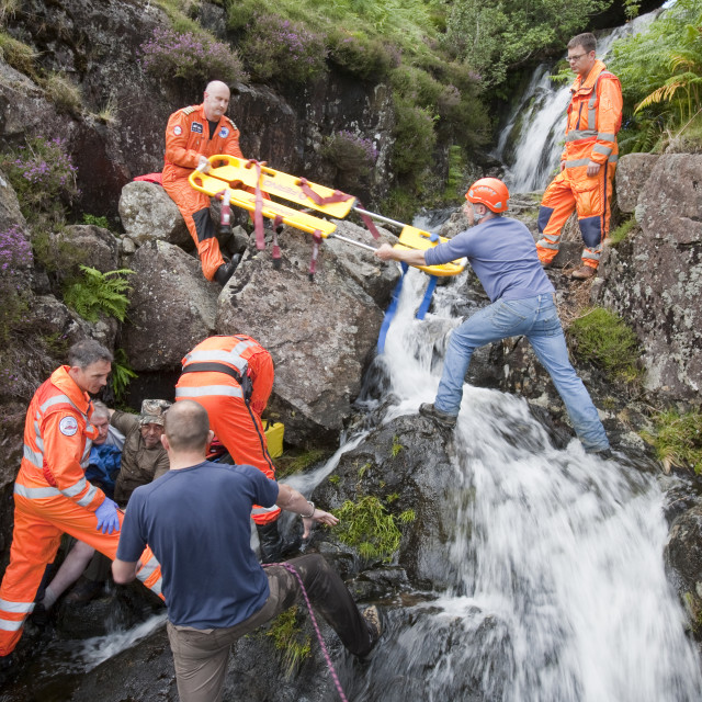 """""""Paramedics from the Great north Air Ambulance and members of..."""" stock image"""