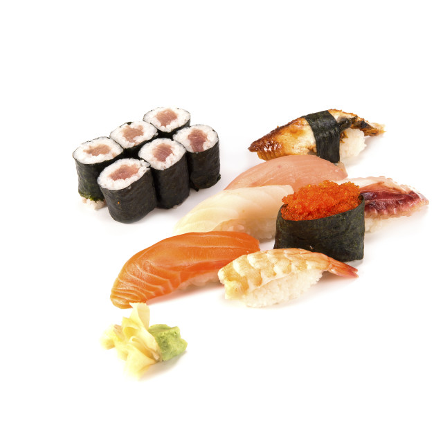 """salmon and eel sushi combo"" stock image"