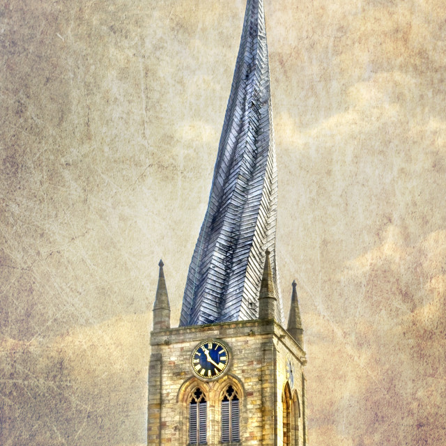 """Chesterfield Church Spire"" stock image"
