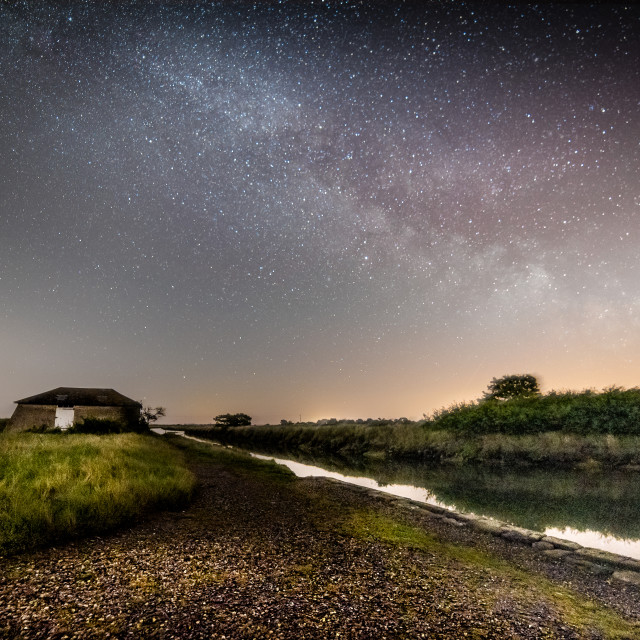 """Milky Way over Beaumont Quay in Essex"" stock image"
