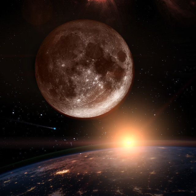"""""""Moon over the dark planet Earth"""" stock image"""