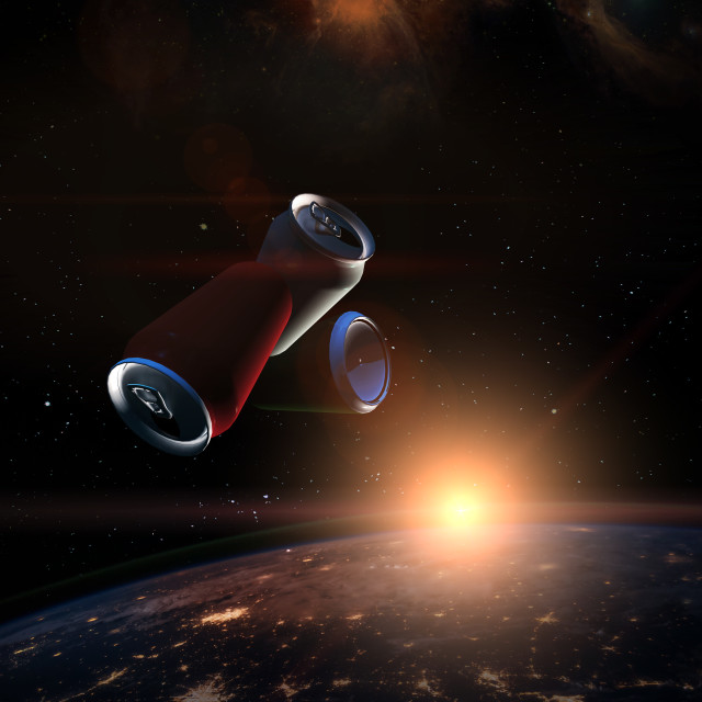 """""""Garbage in space concept. Soda tin cans over the dark planet Ear"""" stock image"""