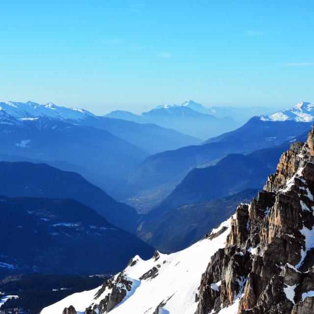 """The peak of the Saulire"" stock image"