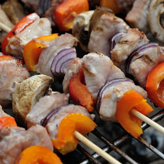 """""""BBQ mixed meat kebab macro #4"""" stock image"""