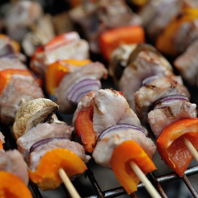 """BBQ mixed meat kebab macro #2"" stock image"