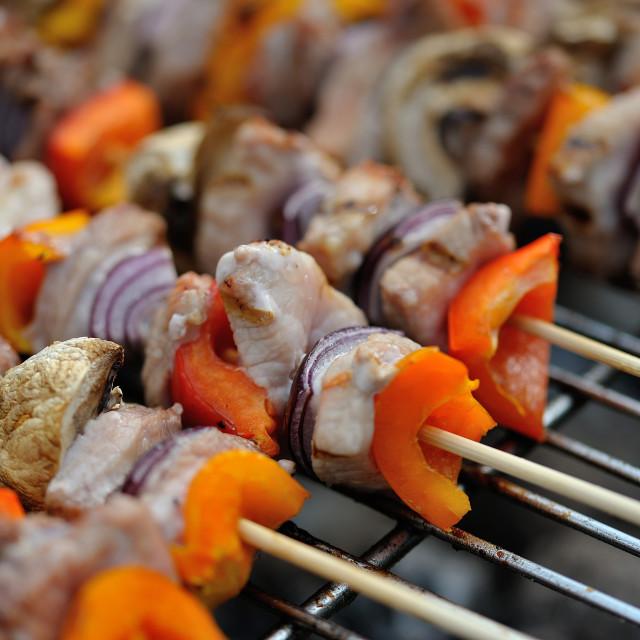 """""""BBQ mixed meat kebab macro #1"""" stock image"""