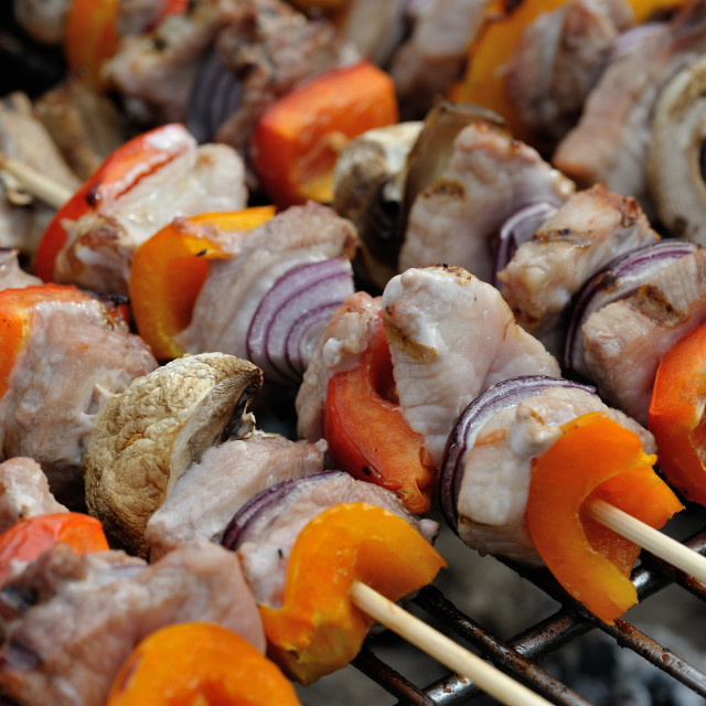 """BBQ mixed meat kebab macro #3"" stock image"