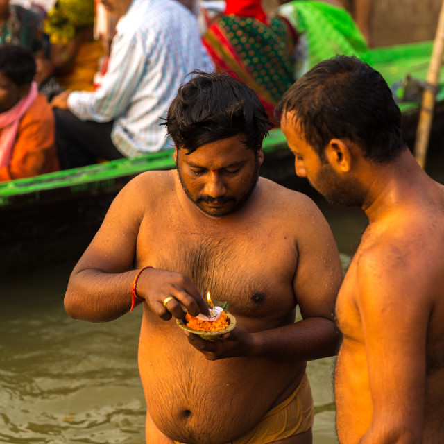 """People at Ganges river in Varanasi, India"" stock image"