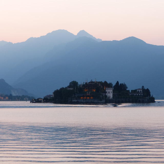 """Stresa at sunset"" stock image"