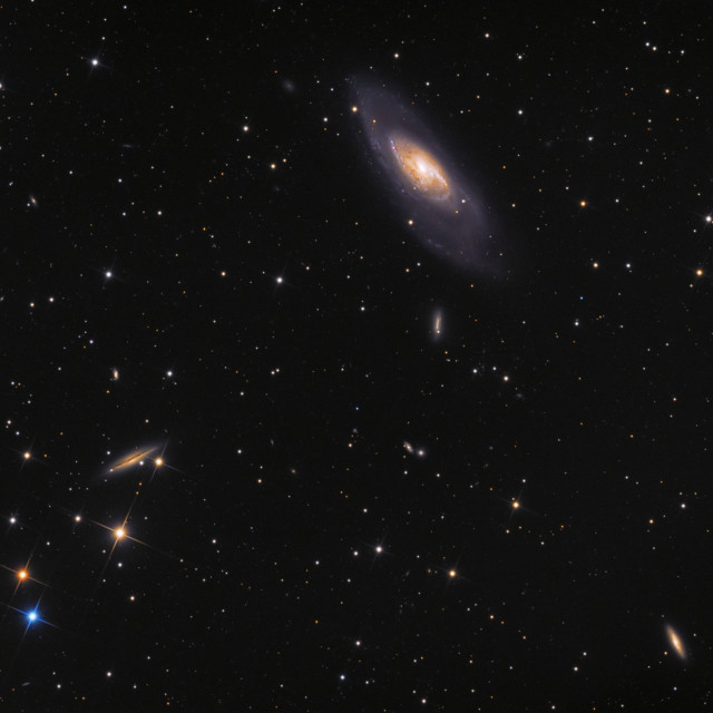 """Galaxy M106 (Messier 106, NGC 4258) in constellation Canes Venatici. Amateur photography made with 6"" newton telescope 750mm and scientific camera. Total exposure time 4h24m."" stock image"