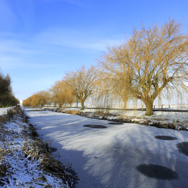 """""""Winter snow; river Welland, Spalding town, Lincolnshire; England; UK"""" stock image"""