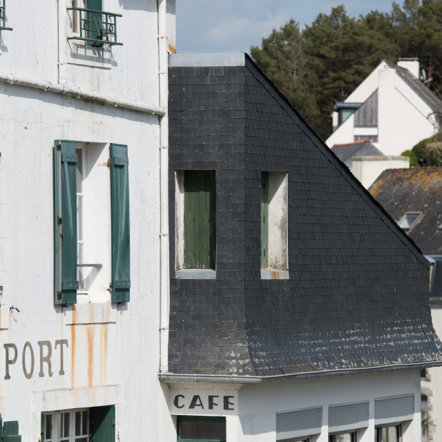 """Frontage of independent coffee shop, Doelan, Brittany."" stock image"