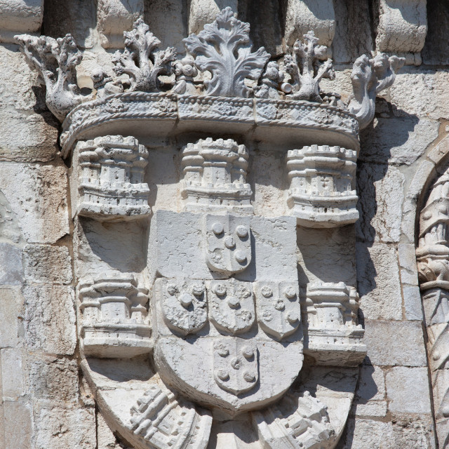 """""""Coat of Arms of King Manuel I at the Belem Tower"""" stock image"""