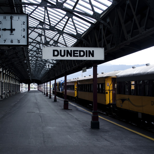 """9am Dunedin Railway Station"" stock image"