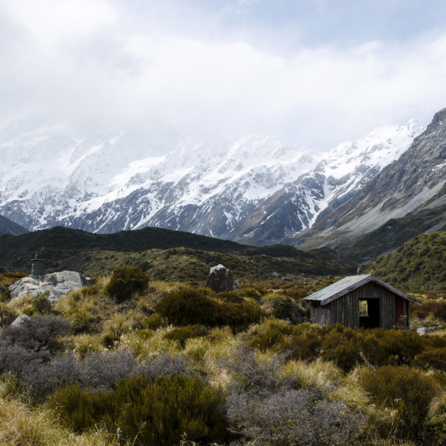 """Hooker Valley Hut"" stock image"
