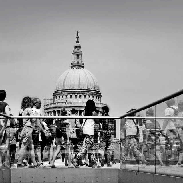 """""""Millennium footbridge and St. Pauls Cathedral London."""" stock image"""