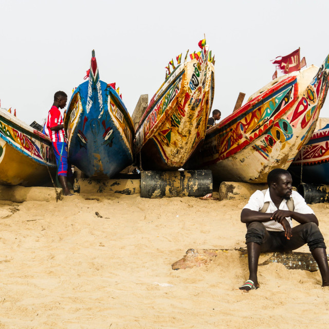 """""""Fishing Boats in The Gambia"""" stock image"""