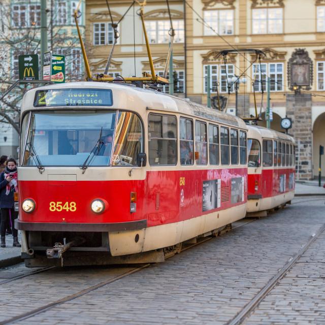 """Tram #22 in Prague, Czech Republic"" stock image"