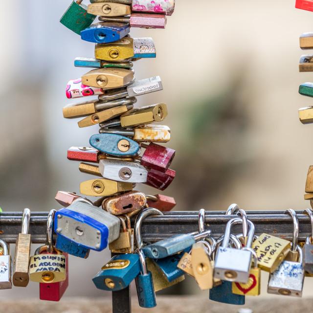 """Love locks on a bridge in Prague, Czech Republic"" stock image"