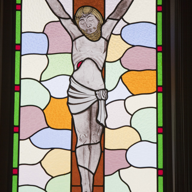"""""""Modern stained glass in a catholic church in Ribchester, Lancashire, UK."""" stock image"""
