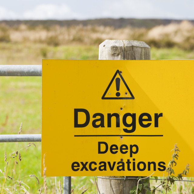 """A sign outside the Glen Taggart open cast coal mine in Lanarkshire, UK."" stock image"