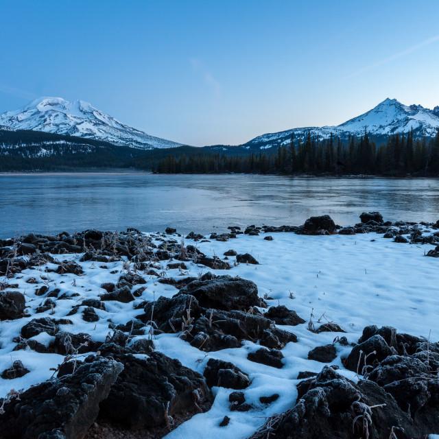 """""""Icy Mountain Lake at Sunrise"""" stock image"""