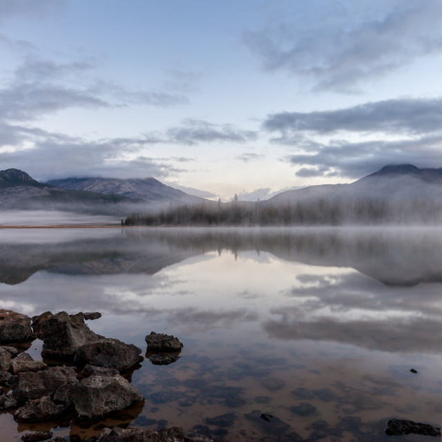 """Misty Mountain Lake Sunrise"" stock image"