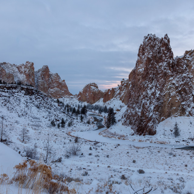 """Snowy Smith Rock Sunrise"" stock image"
