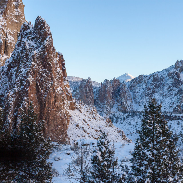 """Snow Covered Smith Rock"" stock image"