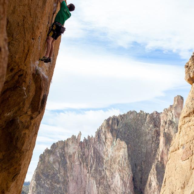 """Smith Rock Climber"" stock image"
